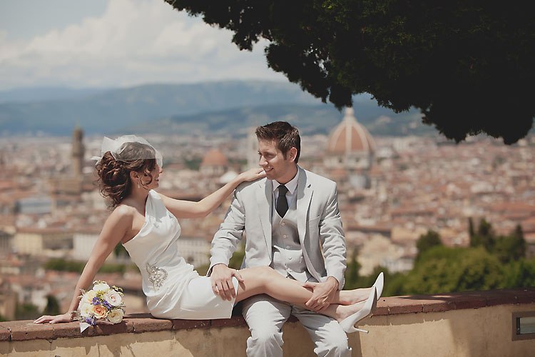 Bride and Groom overlooking Duomo Florence Italy