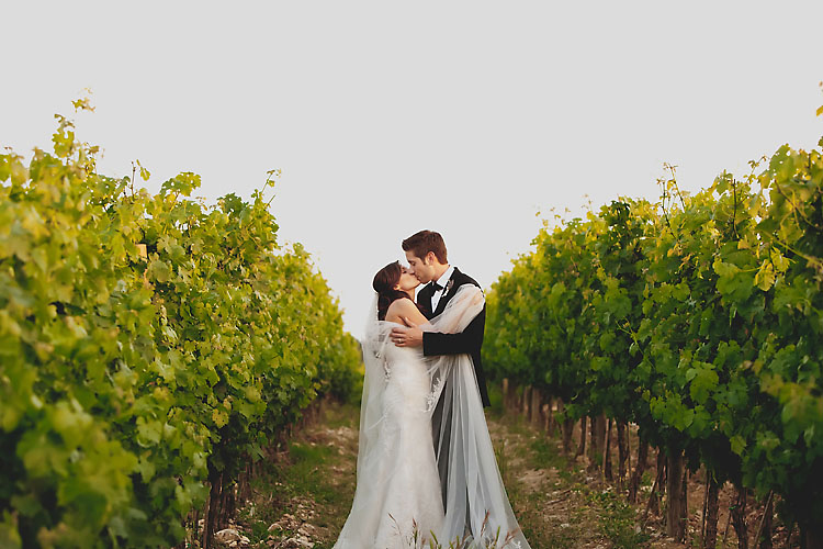 Bride and groom portrait in Italian Vineyard in Greve Italy