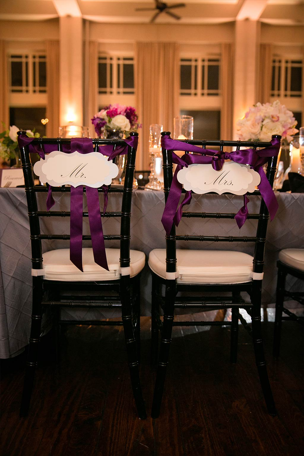 Purple Ribbon Mr and Mrs Chair Signs
