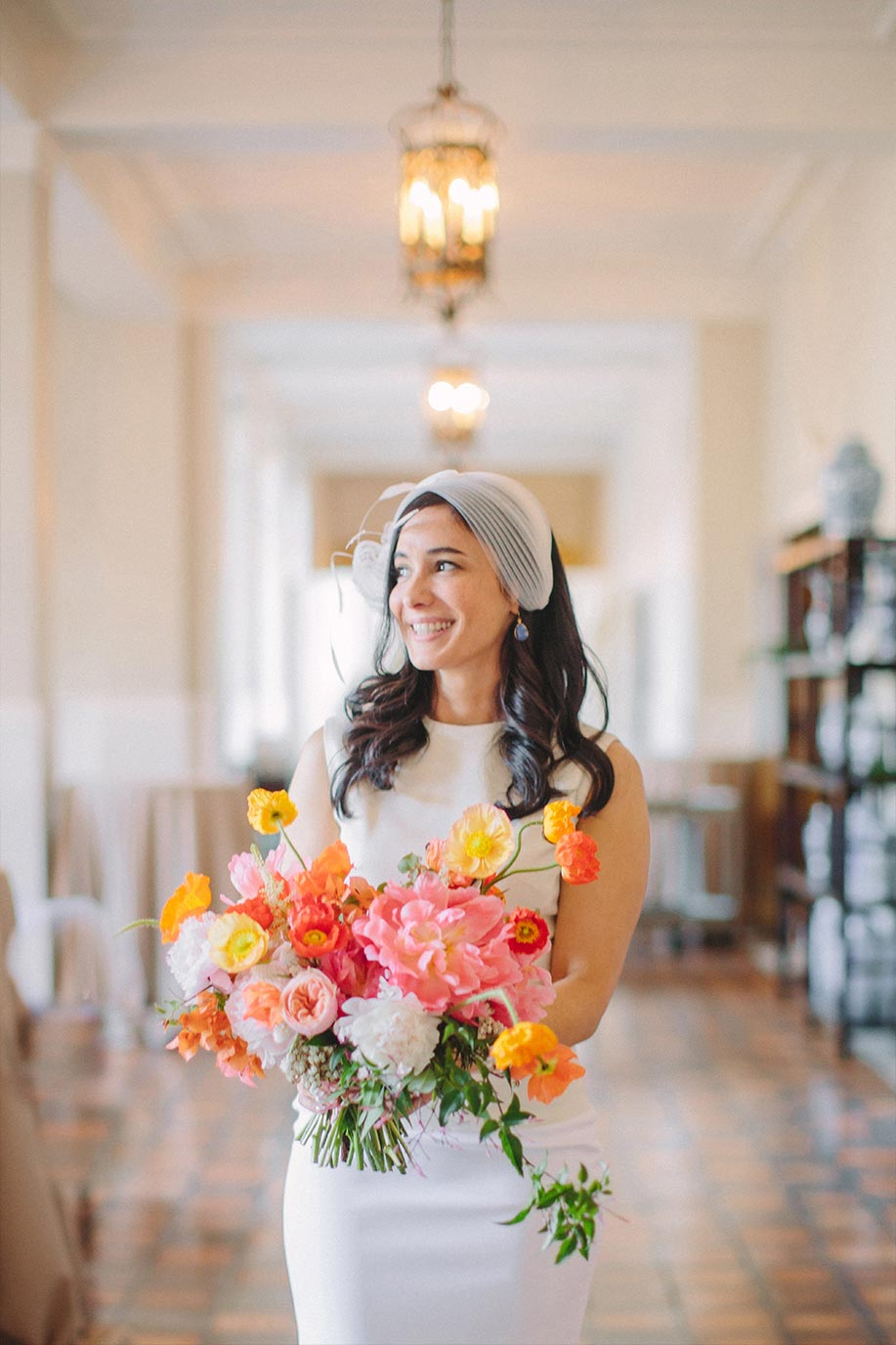Bridal portrait with pink and orange bouquet