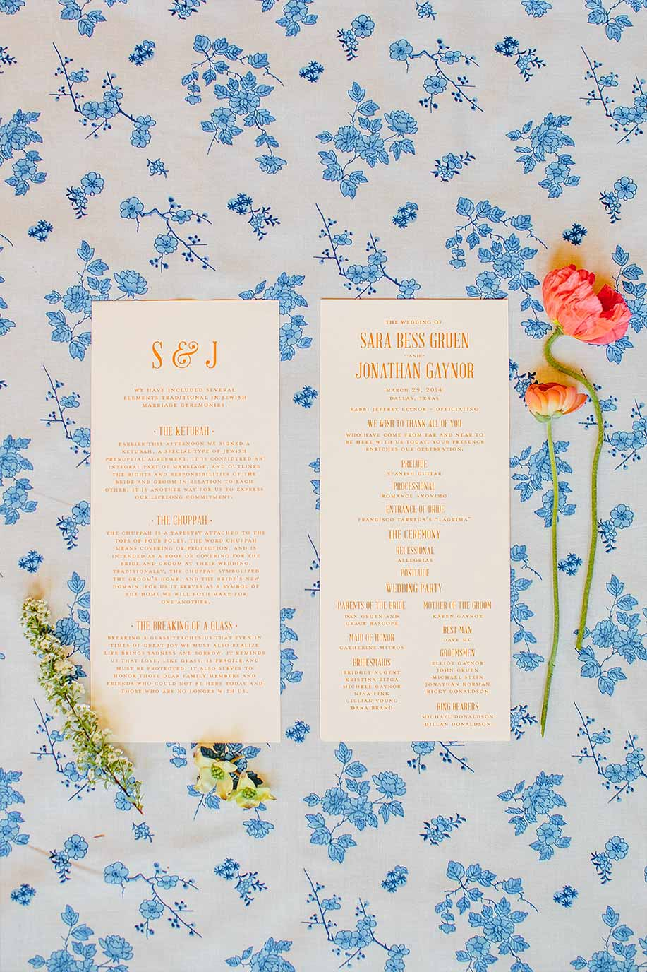 Styled #10 size orange wedding ceremony program