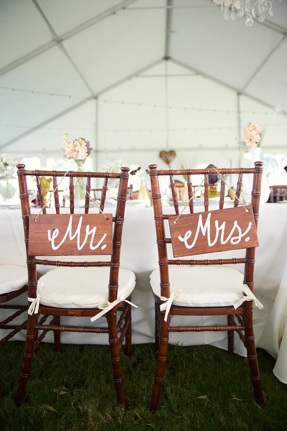 Wooden Painted Mr and Mrs Chair Wedding Signs