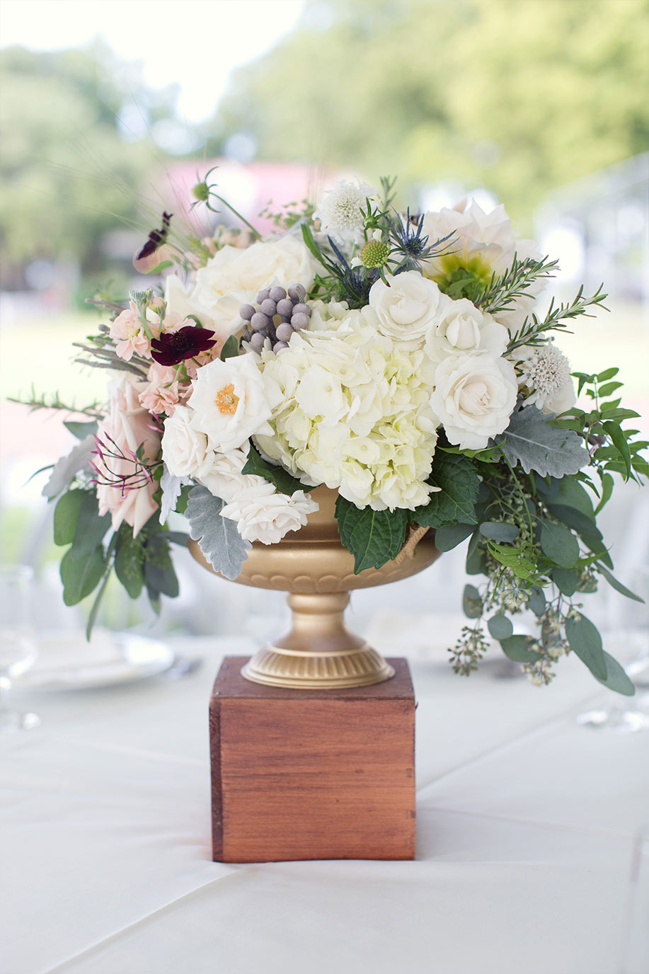 Gold Footed Bowl Wedding Centerpiece