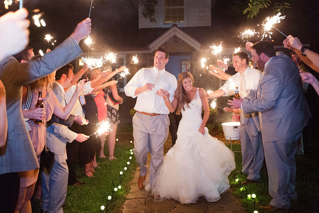 Sparkler Grand Exit Howell Family Farms Wedding