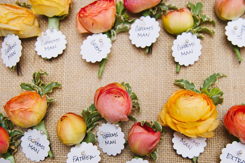 Peach Ranunculus boutonnieres for groomsmen