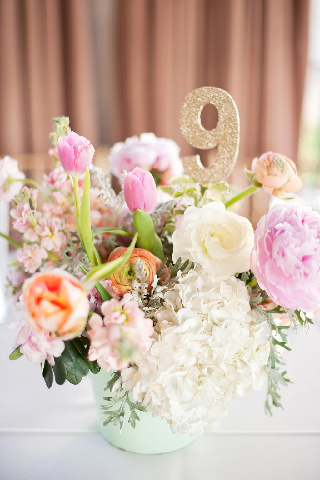 Mint and Gold Vase with Pink and Peach Floral Wedding Centerpiece