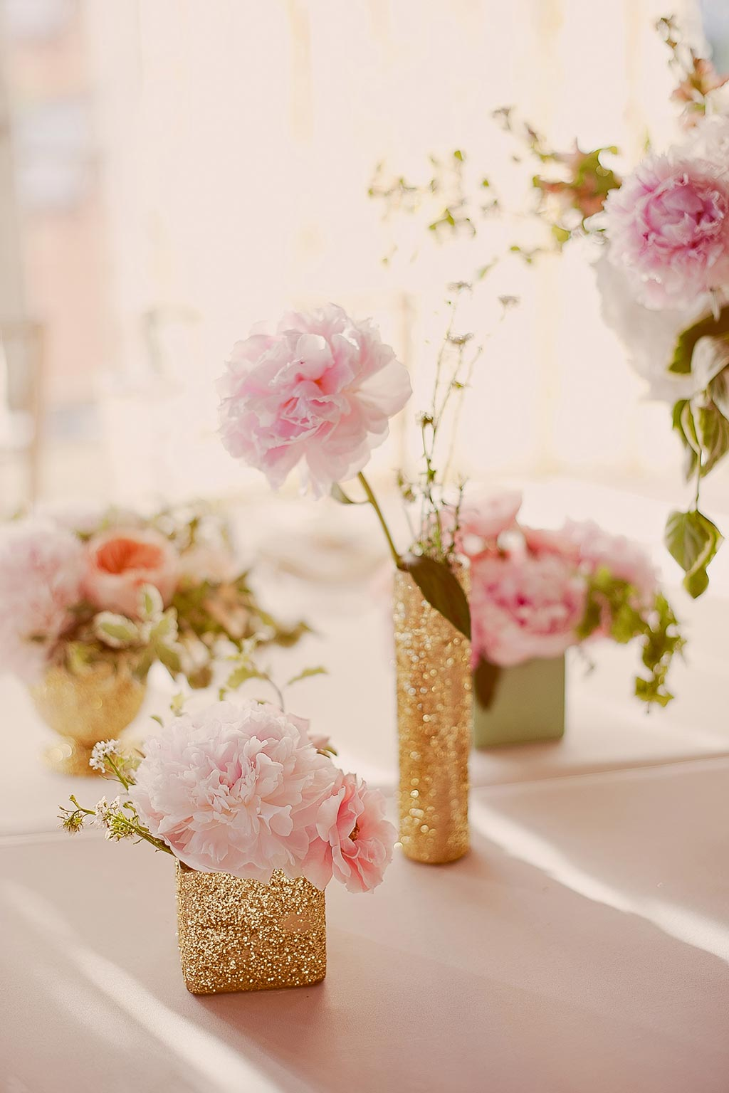 Gold Vases with Pink and Peach Floral Wedding Centerpiece