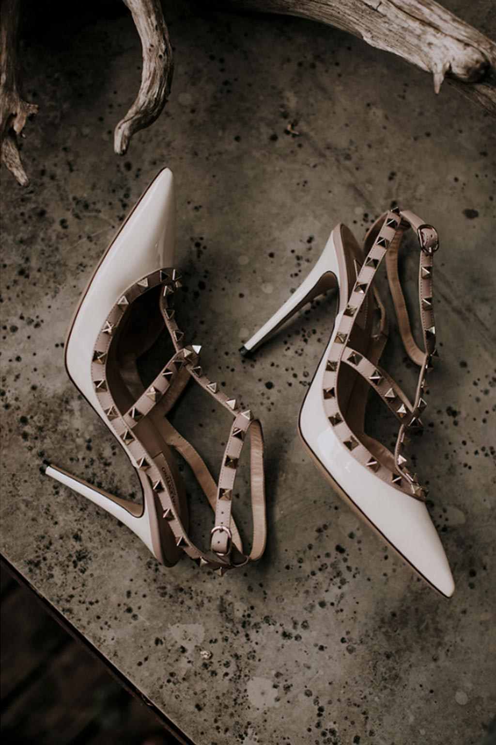 Bride's Valentino studded t-strap pump wedding day shoes