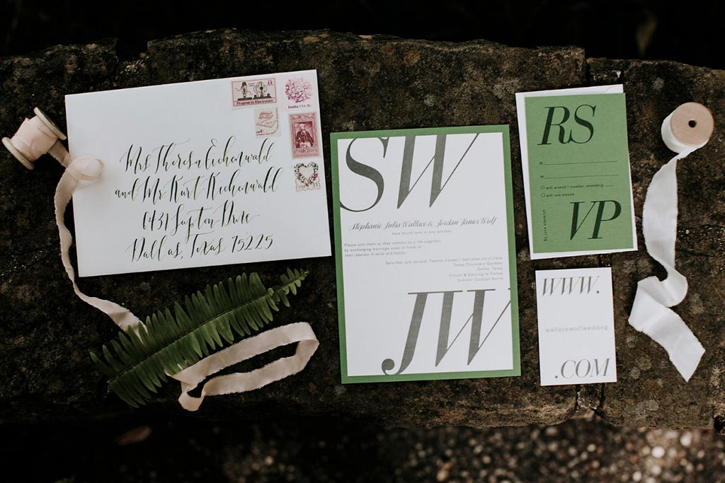 Green, white, and gray wedding invitation suite from Paper Source with guest address calligraphy by Blue Eye Brown Eye