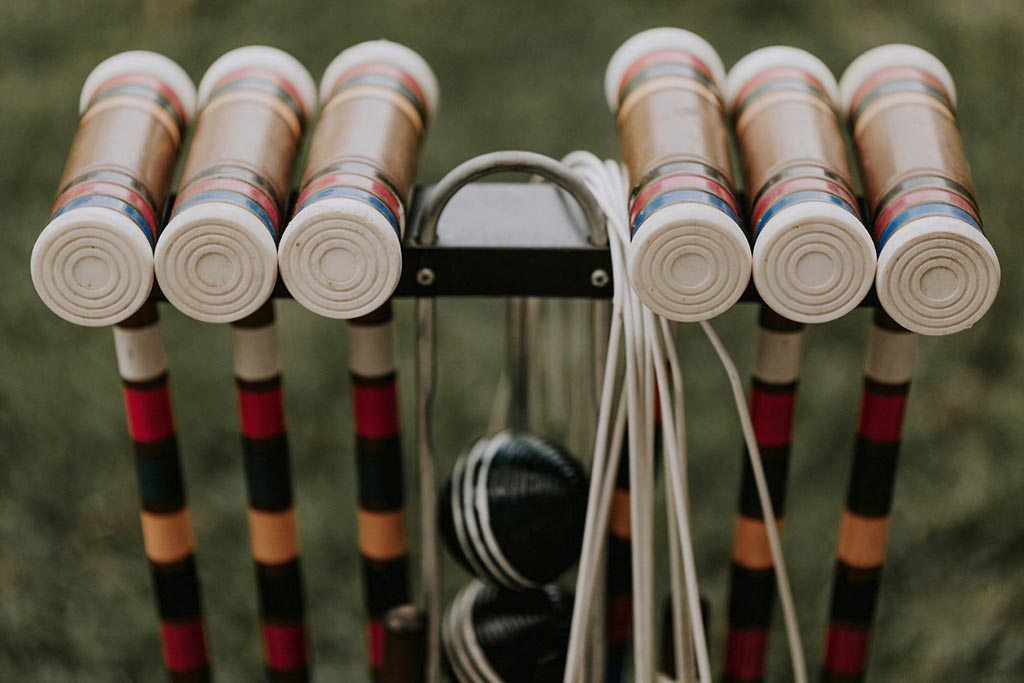 Croquet mallets for outdoor wedding lawn game