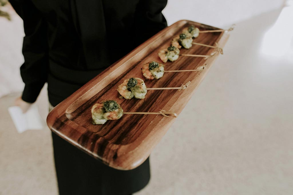 Grilled shrimp with chimichurri wedding hor d'oeuvres by Vestals