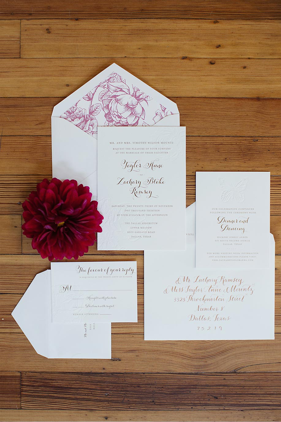 Gold foil wedding invitation suite and calligraphy with purple floral liner by Blue Eye Brown Eye