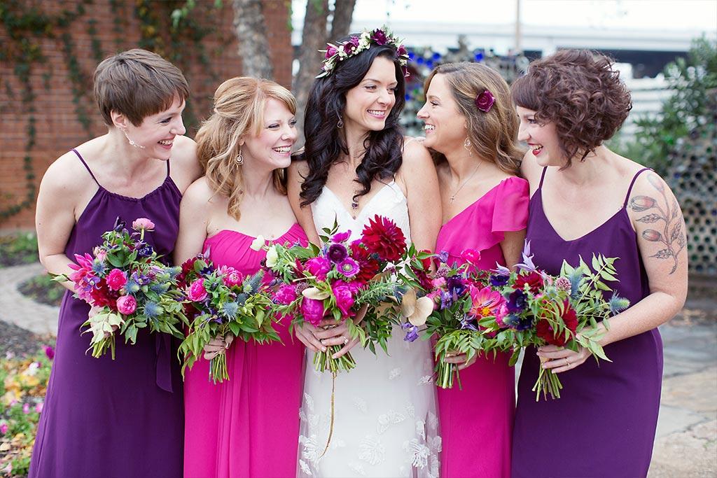 Pink and purple wedding bridal party
