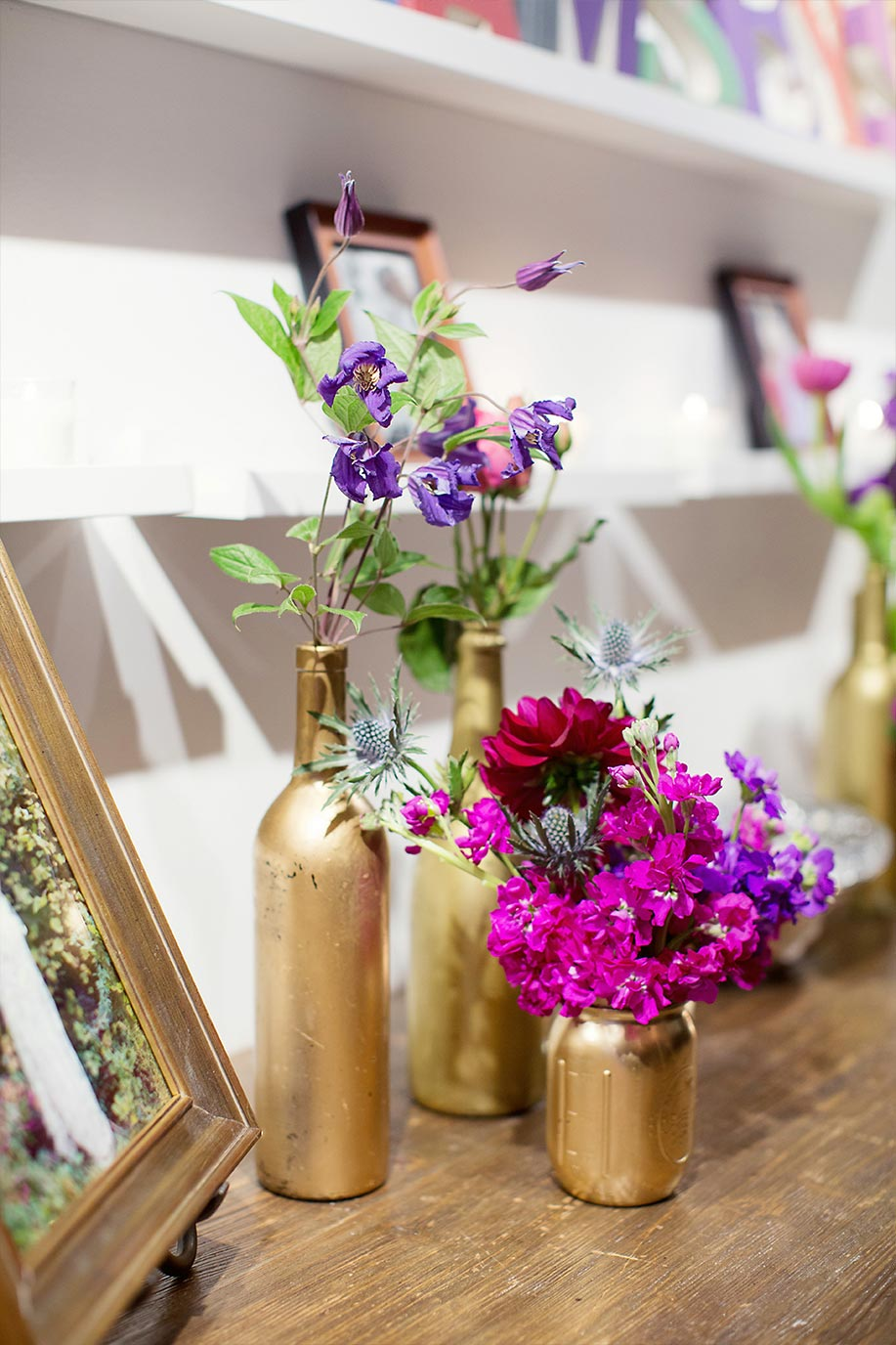 Gold bottle wedding floral collection