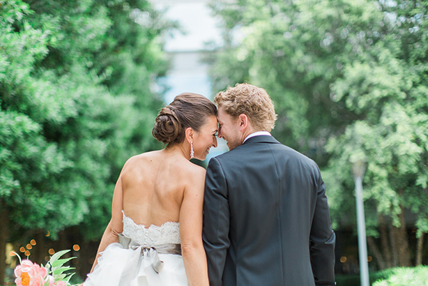 Bride and groom take a wedding day portrait at Marie Gabrielle in Dallas
