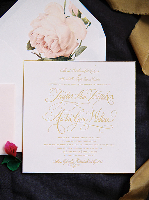 Gold square wedding invitation suite with painted bevel edge and floral liner by Chips and Salsa Design