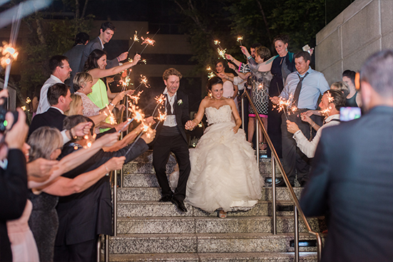 Sparkler wedding grand exit at Marie Gabrielle in Dallas